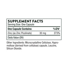 Zinc Picolinate 180's by Thorne Research 30mg Supplement Facts