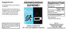 Ashwaganda Supreme by Supreme Nutrition 90 Caps. Adrenal/Stress Support.
