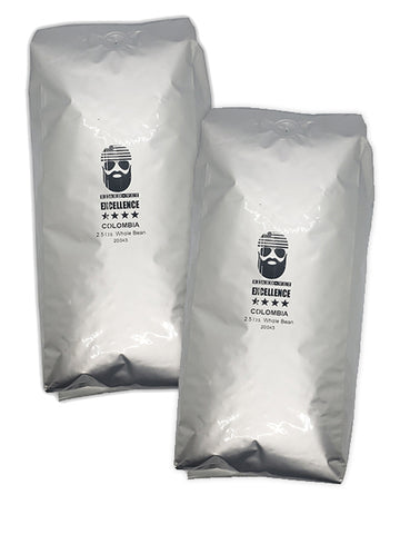 2 BAGS --Beard Vet Excellence Coffee 2.5 lb bag: Colombia - WHOLE BEAN