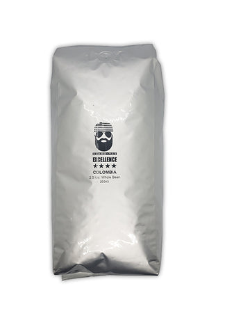 Beard Vet Excellence Coffee 2.5 lb bag: Colombia - WHOLE BEAN