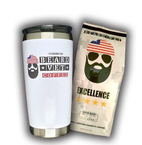 SPECIAL -- 20 oz. Beard Vet White Tumbler & Coffee combo