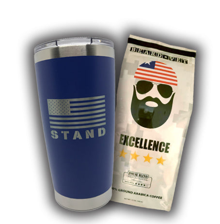 SPECIAL -- 20 oz. Beard Vet Blue Tumbler & Coffee combo