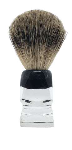 Badger Shaving Brush (Clear Handle) + FREE shaving cream