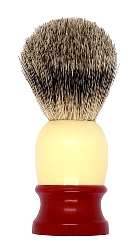 Badger Shaving Brush (Red & Yellow Handle) + FREE shaving cream