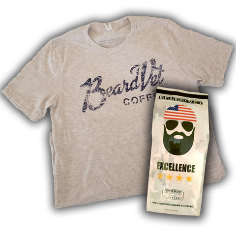 Beard Vet Coffee T-shirt & Bag of coffee combo - ASH GREY