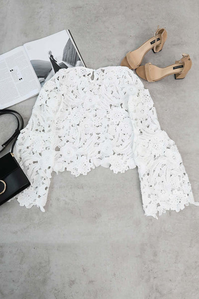 Orsle Chic Lady Lace Hollow White Shirts