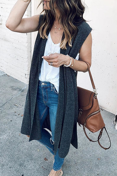 Orsle Casual Sleeveless Deep Grey Cardigan