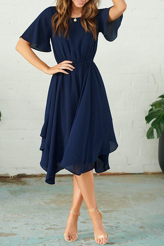 Orsle Pop Round Neck Flared Sleeves Navy Dress