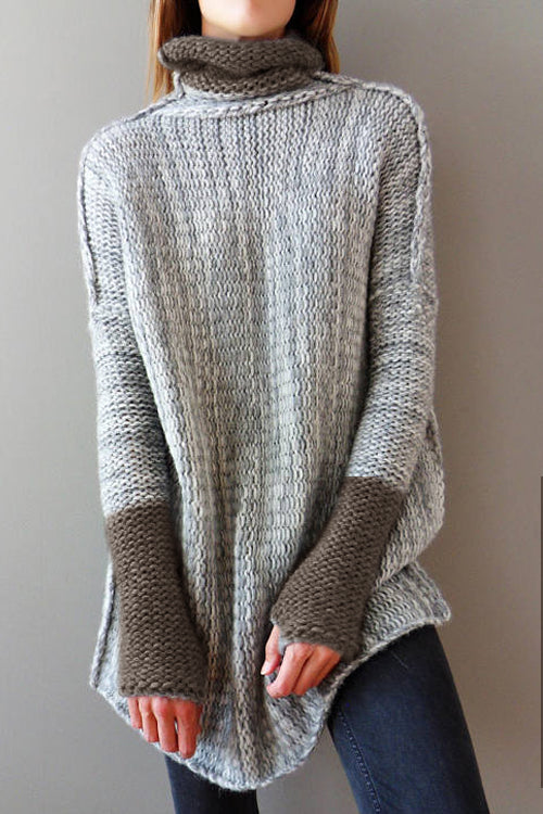Orsle Trendy Turtleneck Long Sleeves Patchwork Sweaters