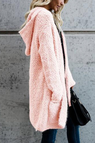 Orsle Long Sleeves Pink Velvet Cardigans