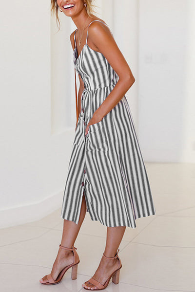 Orsle V Neck Button Decorative Stripe Mid Dress
