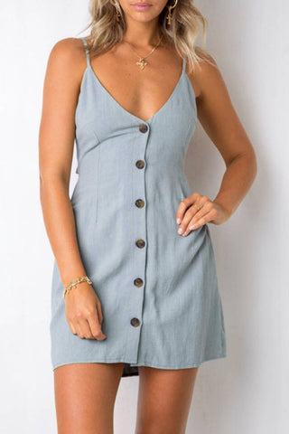 Orsle Deep V Neck Hollow-out Light Mini Dress