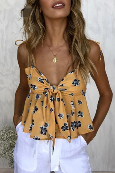Orsle Sweet Floral Printed Yellow Tank Top
