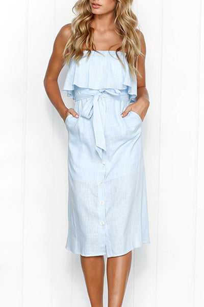 Orsle Off Shoulder Ruffle Button Up Strapless Dress