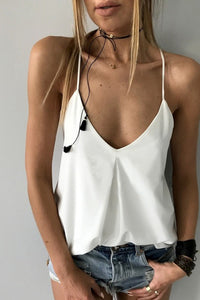 Orsle Casual V Neck White Tank Top