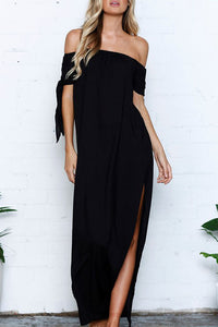 Orsle Bohemian Bateau Neck Side Slit Black Maxi Dress