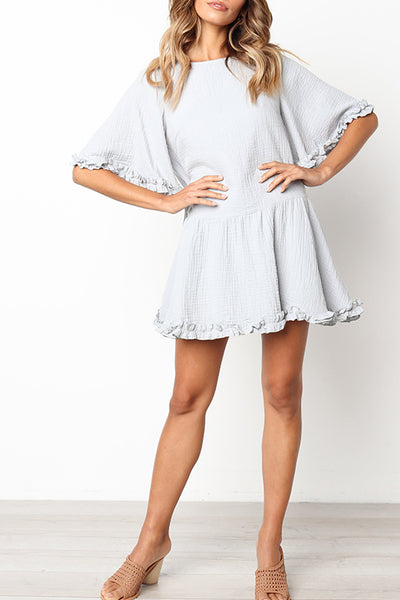 Orsle Cute Round Neck Ruffle Design Light Mini Dress(4 Color)