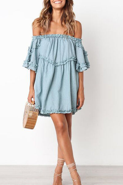 Orsle Sweet Flare Sleeve Wide Sleeve Off Shoulder Mini Dress