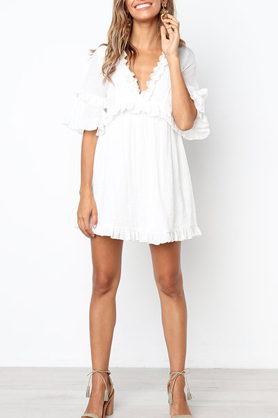Orsle Sexy Deep V Neck White Mini Dress