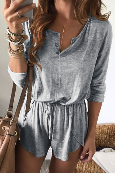 Orsle Casual Solid Botton Long Sleeve One-piece Rompers