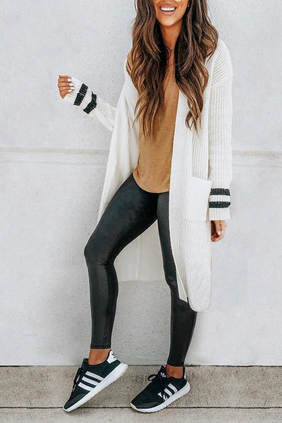 Orsle Collarless Long White Knitted Cardigan