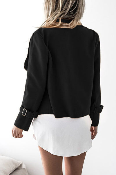 Orsle Lapel Neck Long Sleeve Casual Slim Short Jacket