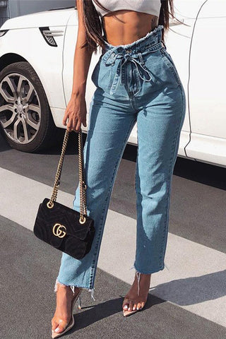 Orsle Frayed Cropped Wide Leg Denim