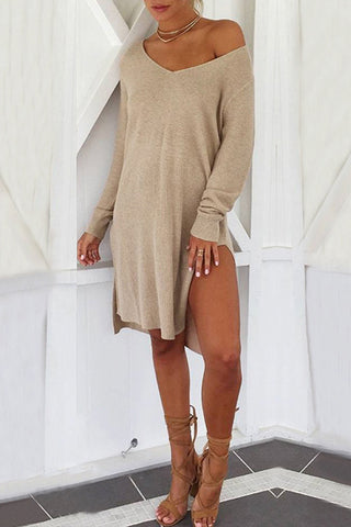 Orsle Long Sleeve Knitting Split Length Dress