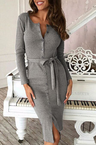 Orsle Button Down Front Long Sleeve Bodycon Shirt Dress