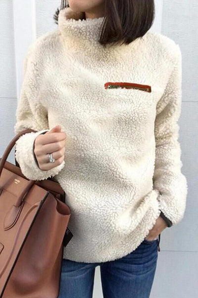 Orsle Long Sleeved Plush Round Neck Pullover High Collar Hoodies