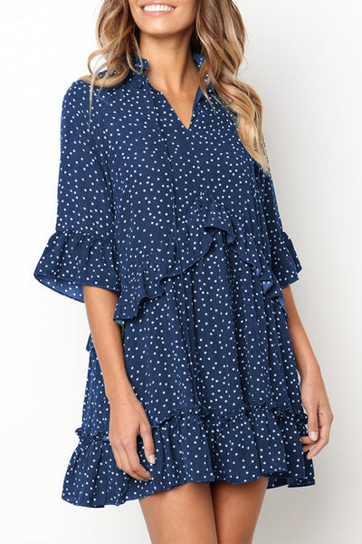 Orsle Dots Printed Flounces Design Mini Dress