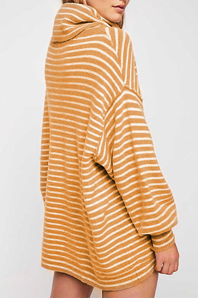 Orsle Casual Striped Oversized cowlneck Sweater Dresses