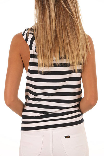 Orsle Casual Striped Black Cotton Tank Top
