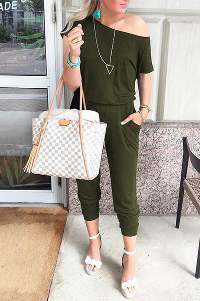 Orsle Casual Loose Off Shoulder Jumpsuit