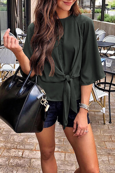 Orsle Casual Lace-up Flare Sleeves Blouses