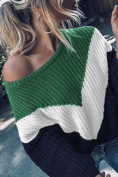 Orsle Casual Patchwork Green Sweaters