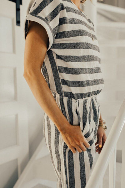 Orsle Fashion Round Neck Striped Printed Jumpsuits