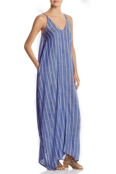 Orsle Casual V Neck Striped Blue Maxi Dress