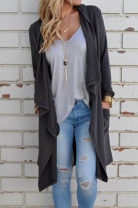 Orsle Turn-down Collar Long Sleeve Cardigan