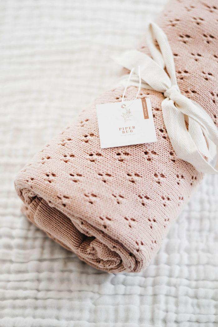 Piper Bug Heritage Knit Blanket / Rose (PRE-ORDER EARLY SEP)