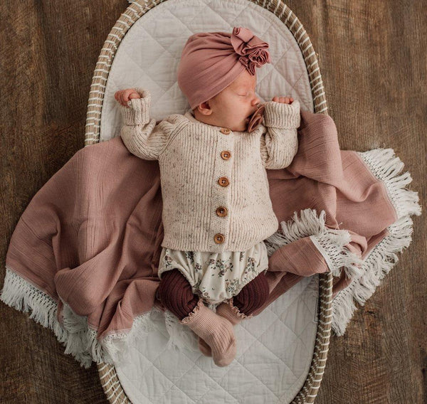 Ziggy Lou Dusty Pink Swaddle With Cream Fringe