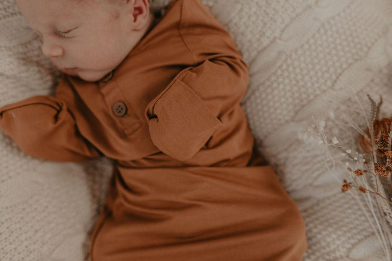 Luna's Treasures Newborn Knotted Gown / Desert Bronze