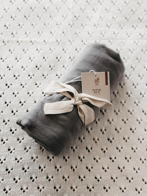 Piper Bug Cotton Swaddle / Charcoal (PRE-ORDER MID SEP) - Dear Isla