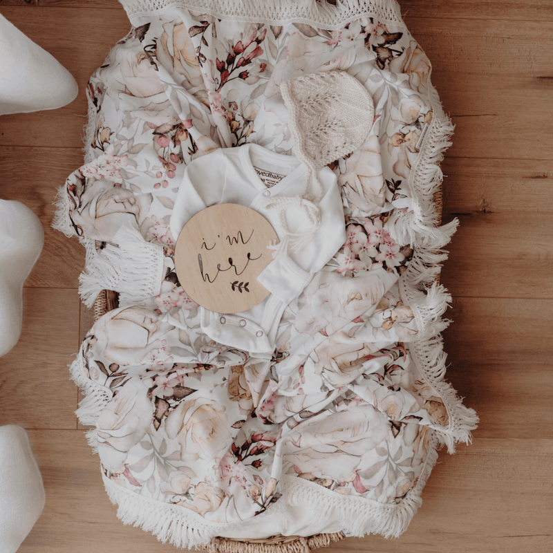 Ziggy Lou Pink Floral Swaddle With Cream Fringe