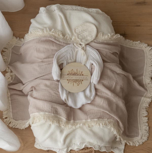 Ziggy Lou Mushroom Swaddle With Natural Fringe