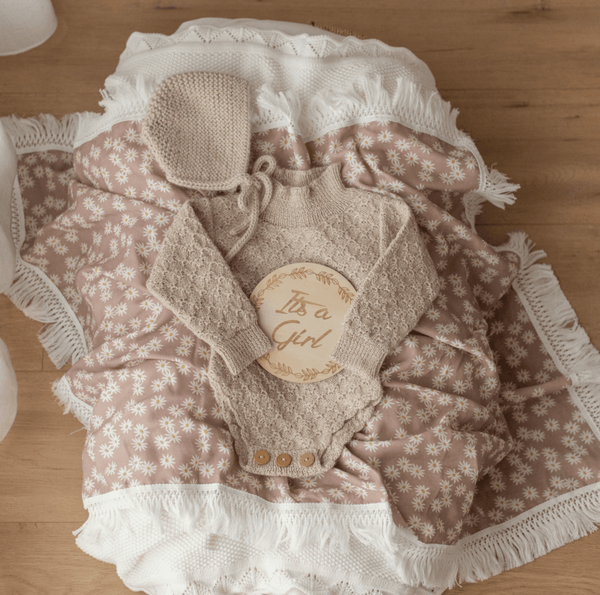 Ziggy Lou Mini Daisy Swaddle With Cream Fringe