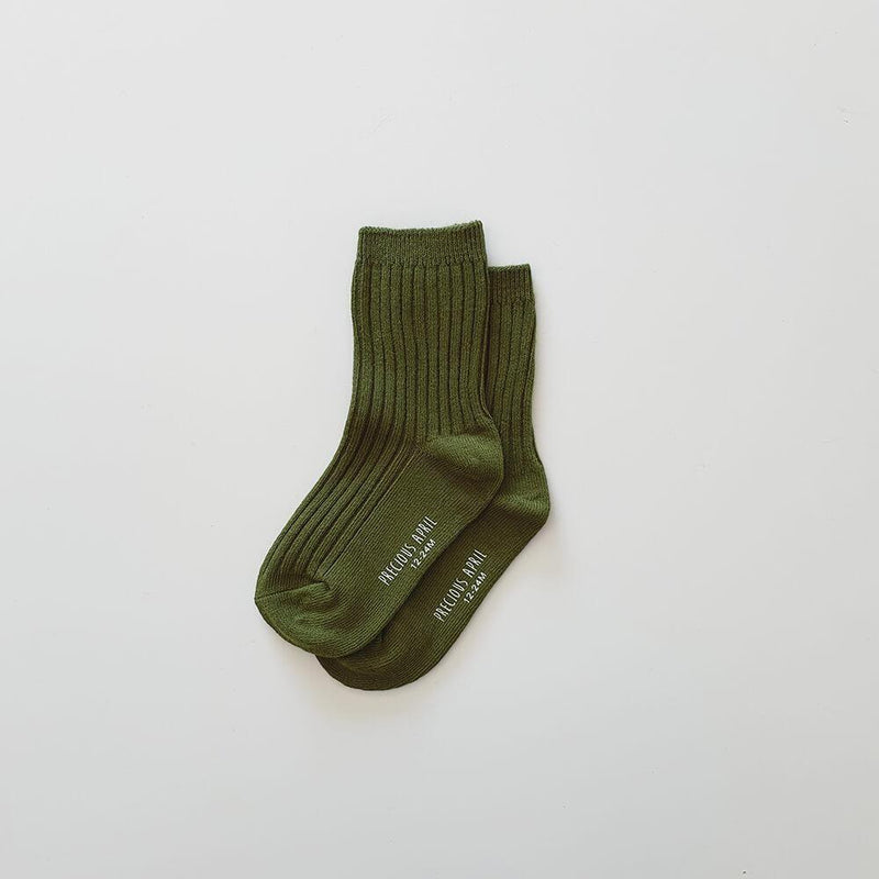 Precious April Skyler Cotton Socks / Olive