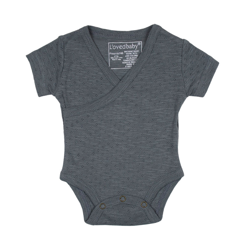 L'oved Baby Organic Wrap Bodysuit Pointelle / Moonstone