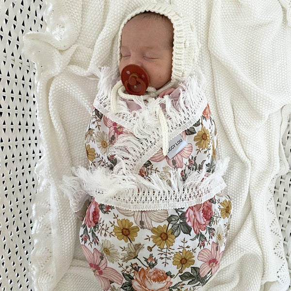Ziggy Lou Pink + Yellow Floral Swaddle With Cream Fringe