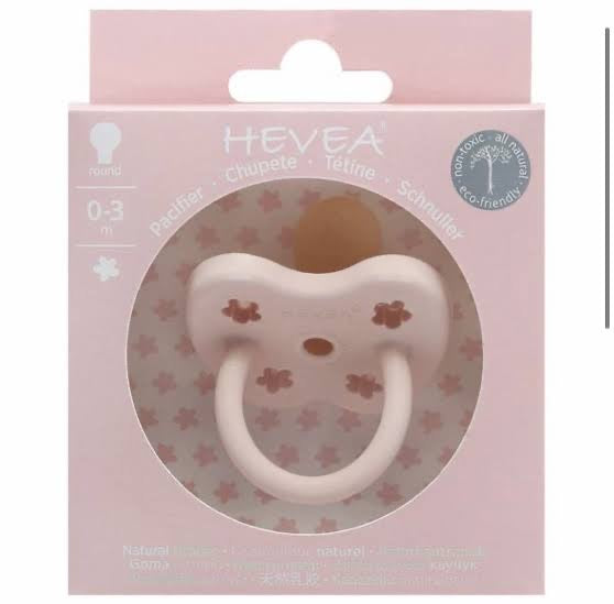 Hevea Pacifier / Orthodontic / 0-3M / Powder Pink Flower